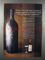 1987 Mouton-Cadet Wine Ad - Treat With Respect