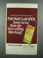 1972 Pall Mall Cigarette Ad - Lower in Tar than King