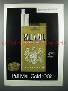 1975 Pall Mall Gold 100's Cigarette Ad - Longe Yet Milder
