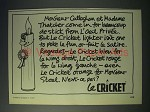 1977 Cricket Cigarette Lighter Ad - Madame Thatcher