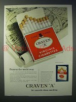 1959 Craven A Virginia Cigarette Ad - Famous World Over