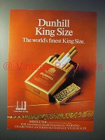 1979 Dunhill King Size Cigarette Ad - World's Finest