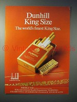 1980 Dunhill King Size Cigarette Ad - World's Finest