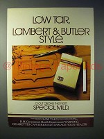 1980 Lambert & Butler Special Mild Cigarette Ad - Style