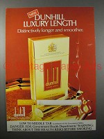 1982 Dunhil Luxury Length Cigarette Ad - Smoother