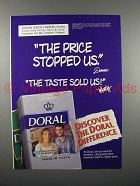 1996 Doral Cigarette Ad - The Price Stopped Us