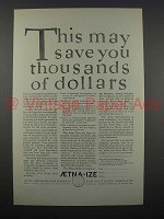 1925 Aetna Life Insurance Ad - Save You Thousands