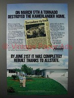 1984 Allstate Insurance Ad - A Tornado Destroyed Home