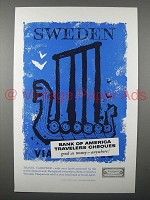 1957 Bank of America Travelers Cheques Ad - Sweden