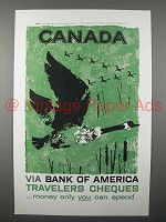 1958 Bank of America Travelers Chques Ad - Canada