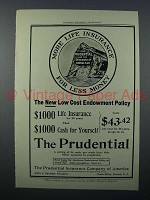 1908 Prudential Insurance Ad - More For Less Money