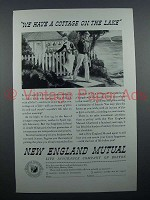 1935 New England Mutual Insurance Ad - Cottage on Lake