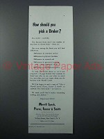 1959 Merrill Lynch Brokers Ad - How Should You Pick?