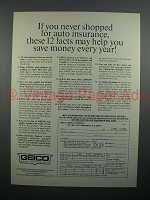 1975 Geico Insurance Ad - Save Money Every Year