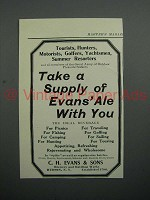 1908 Evans Ale Ad - Take A Supply With You