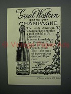 1908 Great Western Extra Dry Champagne Advertisement