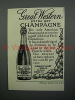 1908 Great Western Extra Dry Champagne Ad