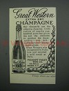 1908 Pleasant Valley Wine Co. Great Western Extra Dry Champagne Ad