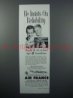 1956 Air France Air Lines Ad - Insists on Reliability