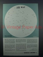 1943 WWII American Airlines Ad - Air Map