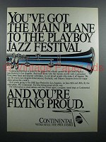 1982 Continental Airlines Ad - Playboy Jazz Festival