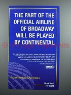 1998 Continental Airlines Ad - Airline of Broadway