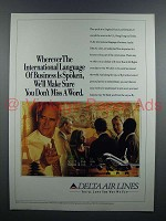 1991 Delta Airlines Ad - Language of Business