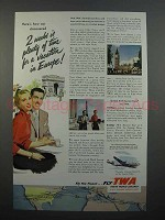 1953 TWA Airline Ad - 2 Weeks is Plenty of Time