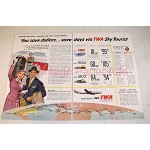 1955 TWA Airlines Sky Tourist Ad - Save Dollars