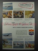 1948 United Air Lines Ad - Hawaii - Glamour Flight