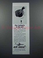 1960 Air India Airline Ad - Our Turban's in the Air