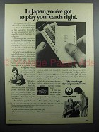 1979 JAL Japan Air Lines Ad - Play Your Cards Right