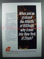 1986 Virgin Atlantic Airline Ad - Crossed Atlantic