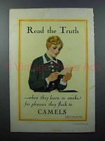 1928 Camels Cigarette Ad - Read the Truth