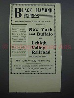 1897 Lehigh Valley Railroad Ad - Black Diamond Express