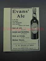 1897 Evans' Ale Ad - Full of Life, Bright and Sparkling