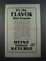1927 Heinz Tomato Ketchup Ad - Flavor Counts