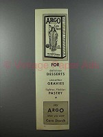 1936 Argo Corn Starch Ad - For Delicious Desserts