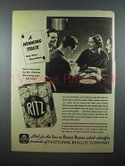 1937 Ritz Crackers Ad - A Winning Trick