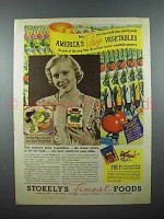 1937 Stokely's Foods Ad - America's Prize Vegetables