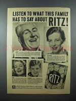 1938 Ritz Cracker Ad - Listen To This Family