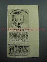 1939 Gerber's Baby Food Ad - Safe Buying Guide
