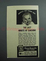 1939 Gerber's Baby Food Ad- Last Minute of Sunshine