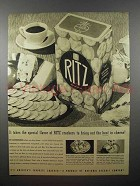 1940 Ritz Crackers Ad - Bring Out the Best in Cheese