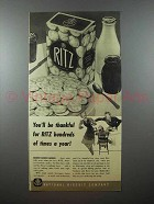 1940 Nabisco Ritz Crackers Ad - You'll be Thankful