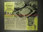 1941 Green Giant Niblets Corn Ad - New Food Standard of America