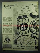 1942 Nabisco Ritz Crackers Ad - 3 Good Menu Tips