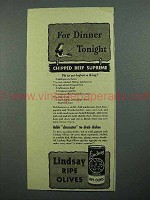 1942 Lindsay Olives Ad - Chipped Beef Supreme