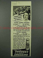 1943 Durkee's Dressing Ad - Victory Garden Luncheon