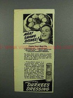 1943 Durkee's Dressing Ad - Potato Crust Meat Pie
